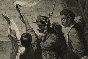 Detail of print on display, showing the central three figures: a soldier holding the Emancipation Proclamation flanked by two slaves..